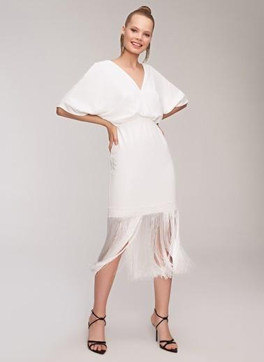 People By Fabrika Püskül Detaylı Elbise Beyaz